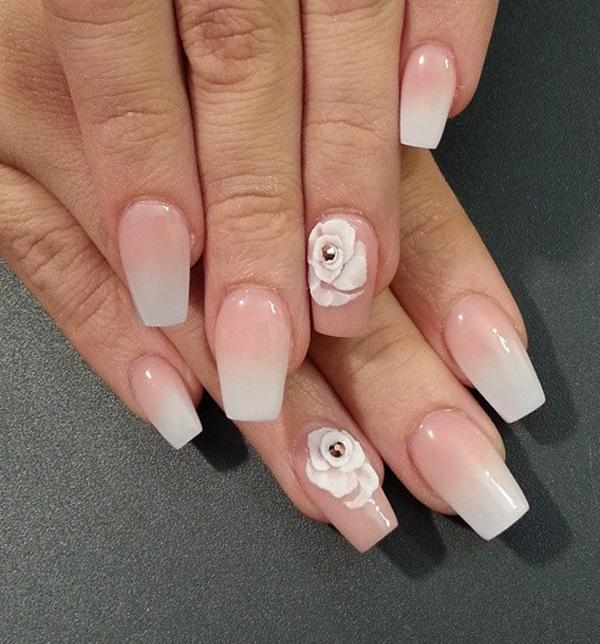 40 nude color nail art ideas art and design beautiful white and nude gradient nail art this style looks very neat and clean prinsesfo Images