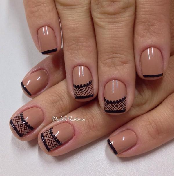 40 nude color nail art ideas art and design nude and black lace inspired nail art design make your nude nail polish unique by prinsesfo Gallery