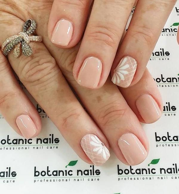 40 nude color nail art ideas art and design simple nude nail art design with details on top in white polish prinsesfo Images