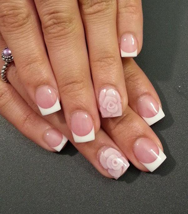 wonderful french tips over a nude nail polish design let your nude nails stand out