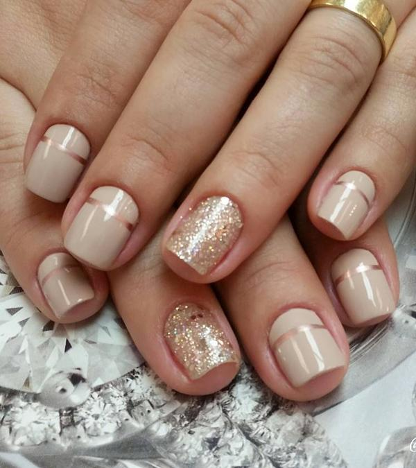 Nude and metallic gold nail art design. These two combinations of colors  always go perfect ... - 40 Nude Color Nail Art Ideas Art And Design