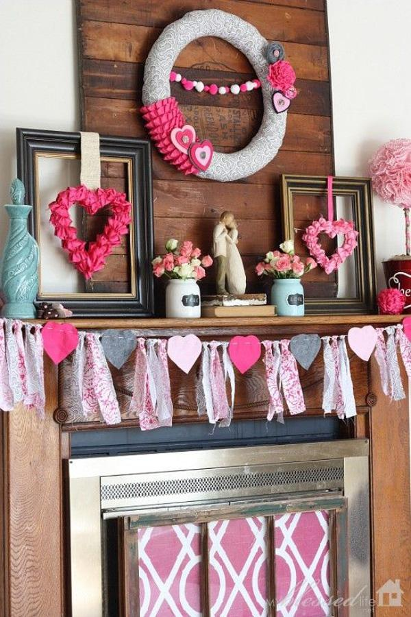 Pretty Valentine's Day Mantel