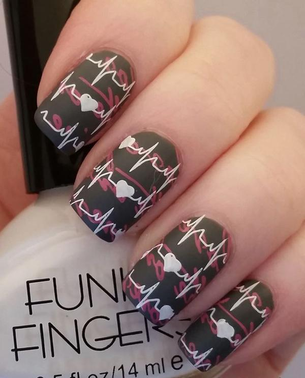 Valentine Nail Art with Mash and Bundle Monster stamping plates
