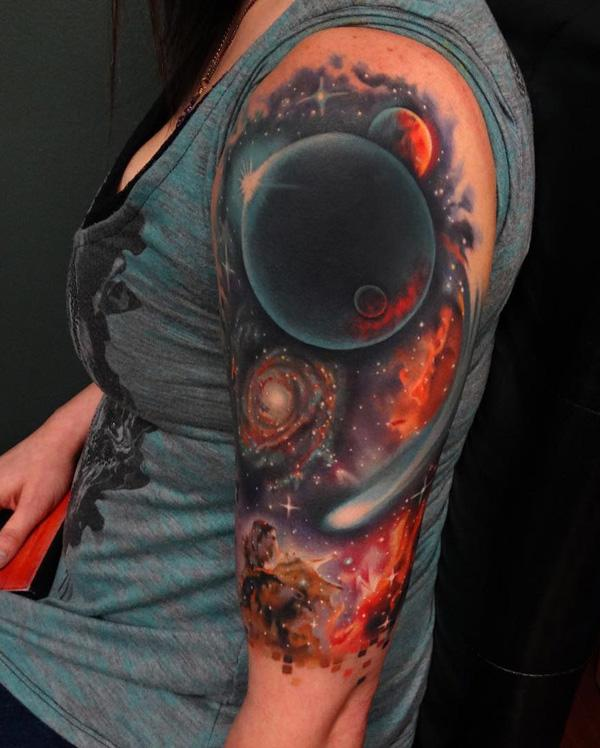 colored space half sleeve tattoo for women