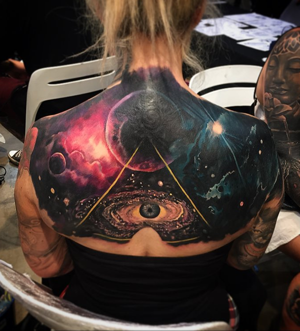 cool space back tattoo for women