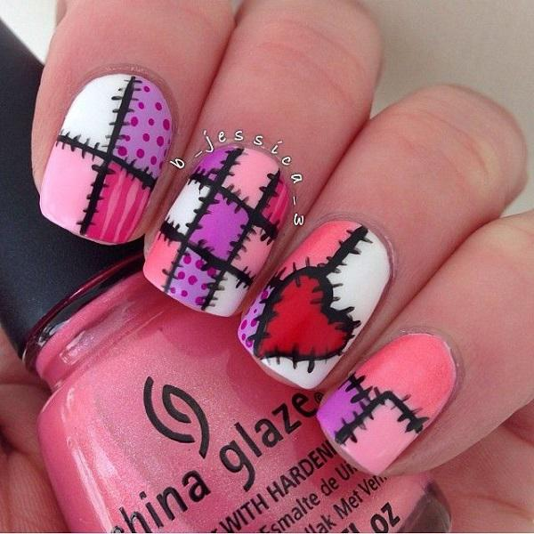 This stitches nail design is perfect for every girl who's got a bit of  skills on ... - 50 Valentine's Day Nail Art Ideas Art And Design