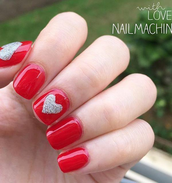 Not everyone has the time for complicated nail designs. So here's another  alternative for those ... - 50 Valentine's Day Nail Art Ideas Art And Design