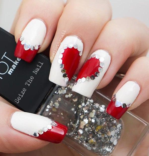 ... Valentine's Day inspired nail art. Get a simple red and white tattoo by  adding some rhinestones to hide the line between ... - 50 Valentine's Day Nail Art Ideas Art And Design