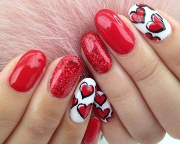 Gone are the days when people will look at you because of different colored  nails. - 50 Valentine's Day Nail Art Ideas Art And Design