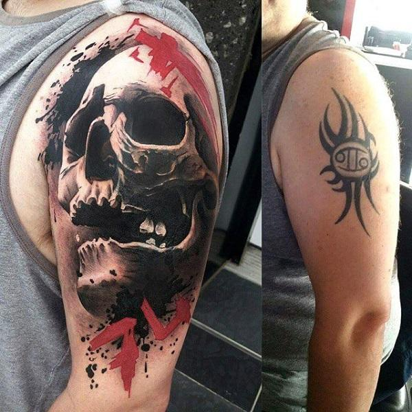 3D Skull cover up tattoo-34