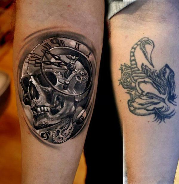 3D Skull with watch cover up tattoo-8