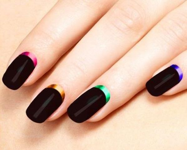 Black with rainbow crescent moon nails
