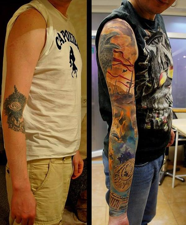 Colored full sleeve cover up tattoo-17