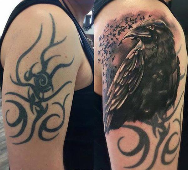 Crow cover up tattoo-29
