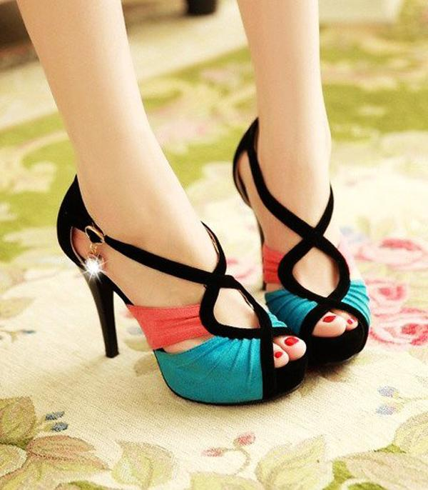 Cut Out Open Toe Color Block Heels