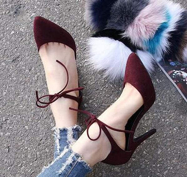 Fashion Sexy Ankle Strap High Heels Stiletto Pumps Suede Work Shoes