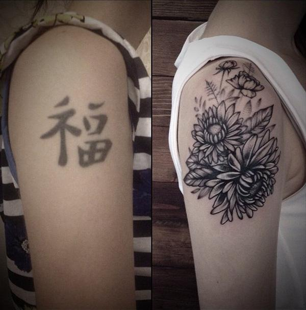 Flower cover up tattoo tattoo tailors cover up tattoos before and
