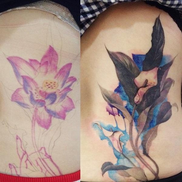 Flower cvoer up side tattoo-39
