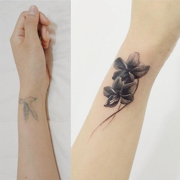 Flower wrist cover up tattoo-38