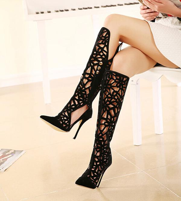 Gorgeous Black Hollow Out Design High Heels Shoes