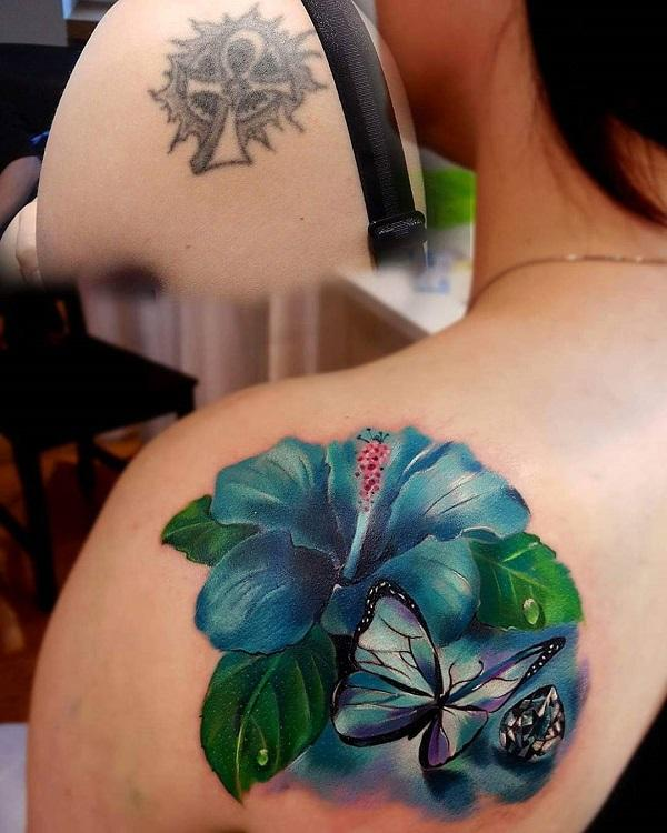 Hibiscus and butterfly cover up tattoo-37