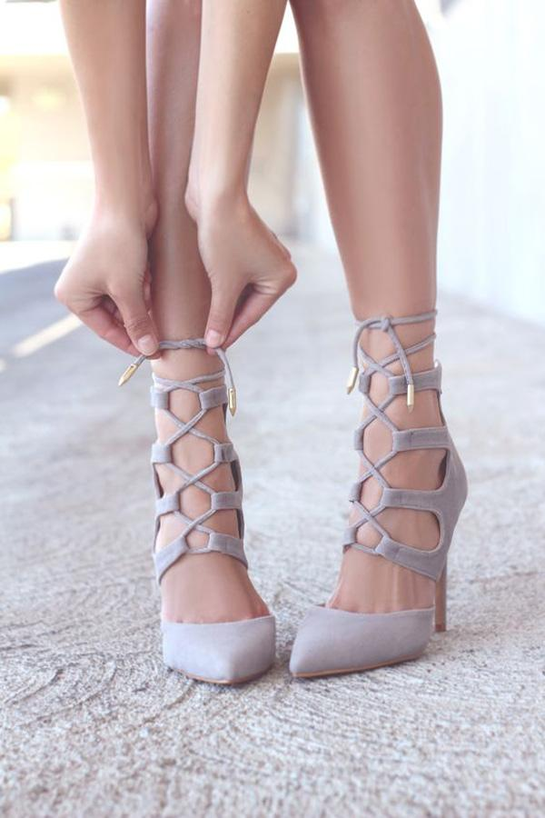 Lofty Ambitions Nude Lace-Up Heels