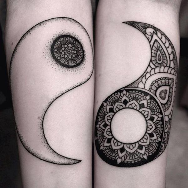 Matching mandala yin yang tattoos-47
