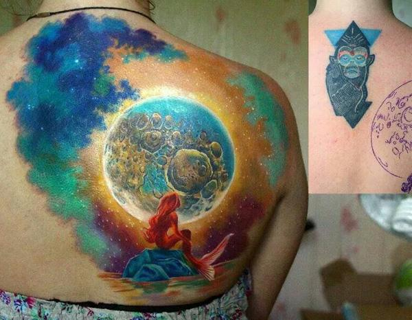 Mermaid cover up back tattoo-58