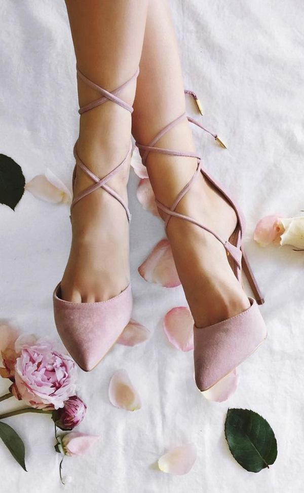 Michele Dusty Rose Lace-Up Heels