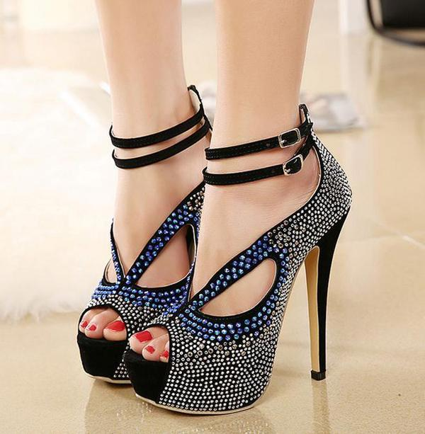 Roman Style Ankle Strap Crystal Studded Glitter Shoes Sandals For Women Heels Ballroom Dance Shoes Party wedding Prom Gown size 3