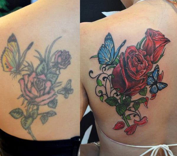 Rose and butterfly cover up tattoo-21