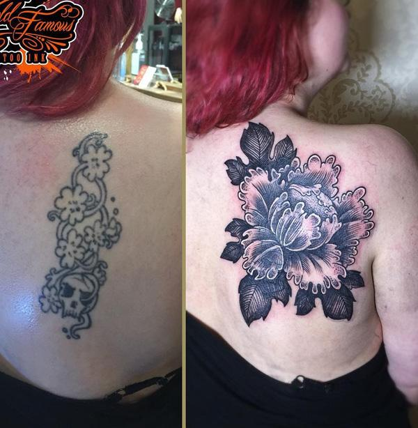 Rose cover up back tattoo-41