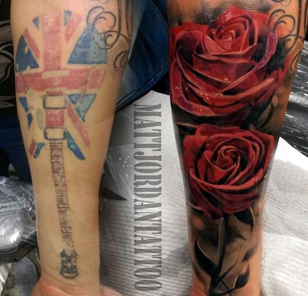 Rose cover up tattoo by Matt Jordan-2