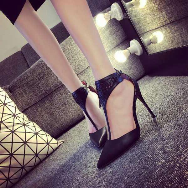 Shoespie T Strap Pointed Toe Stiletto Heels