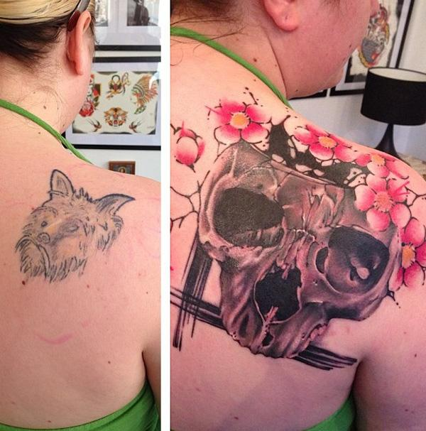 Skull with cherry blossoms cover up tattoo-15