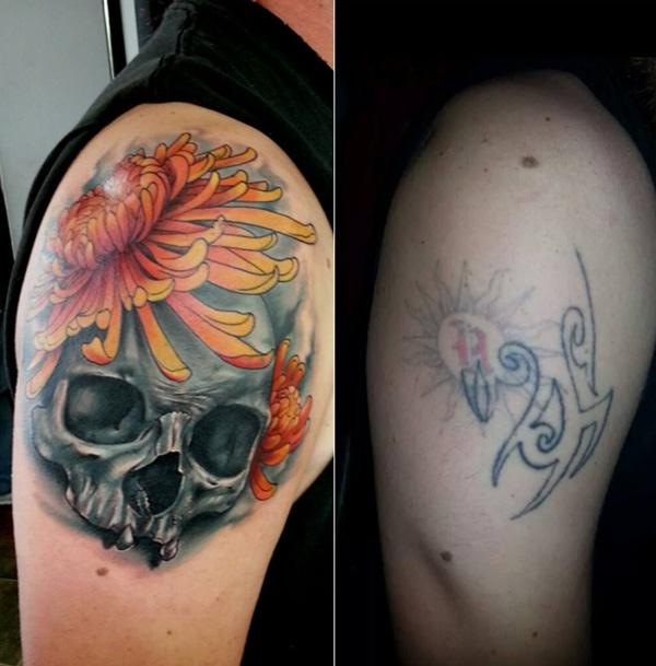 Skull with chrysanthemum cover up tattoo-18