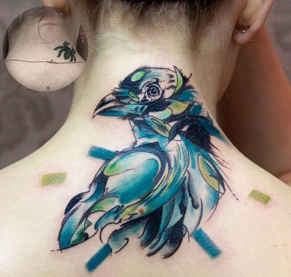 Watercolor bird cover up tattoo-13