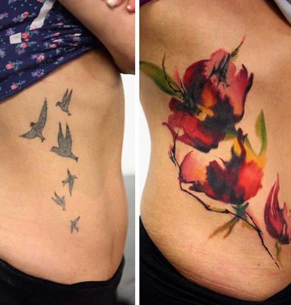 Watercolor flower cover up tattoo-19