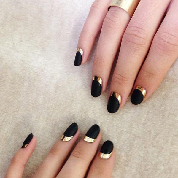 black with Gold crescent moon nails-1