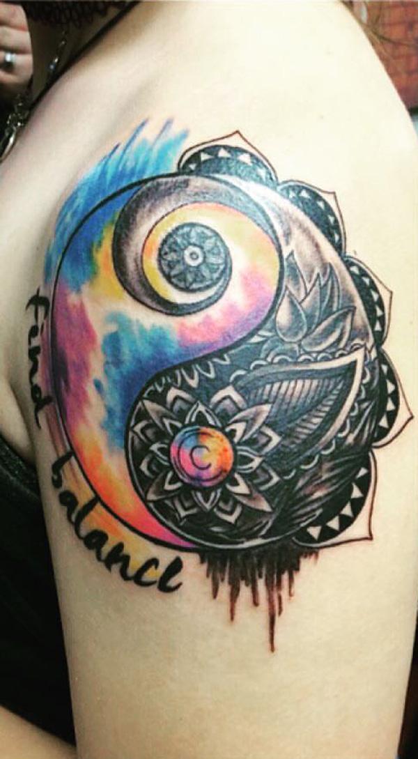 colored mandala yin yang sleeve tattoo-20