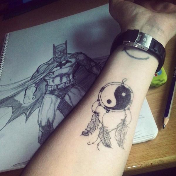 dreamcatcher yin yang forearm tattoo-26