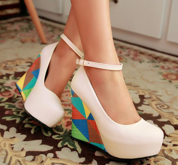fashion sexy wedges high heels women pumps PU leather ladies peep toe shoes