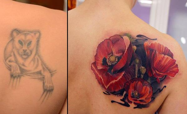 flower cover up tattoo by Andrey Grimmy-1