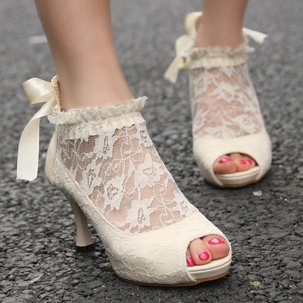 lace shoe wedding high heels