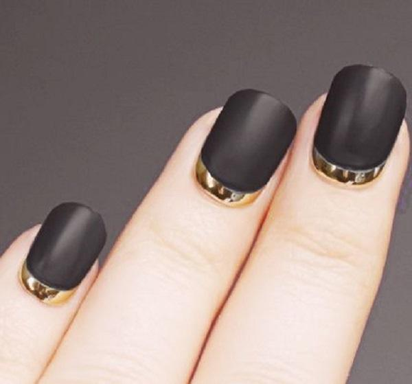 matte black  gold reverse French