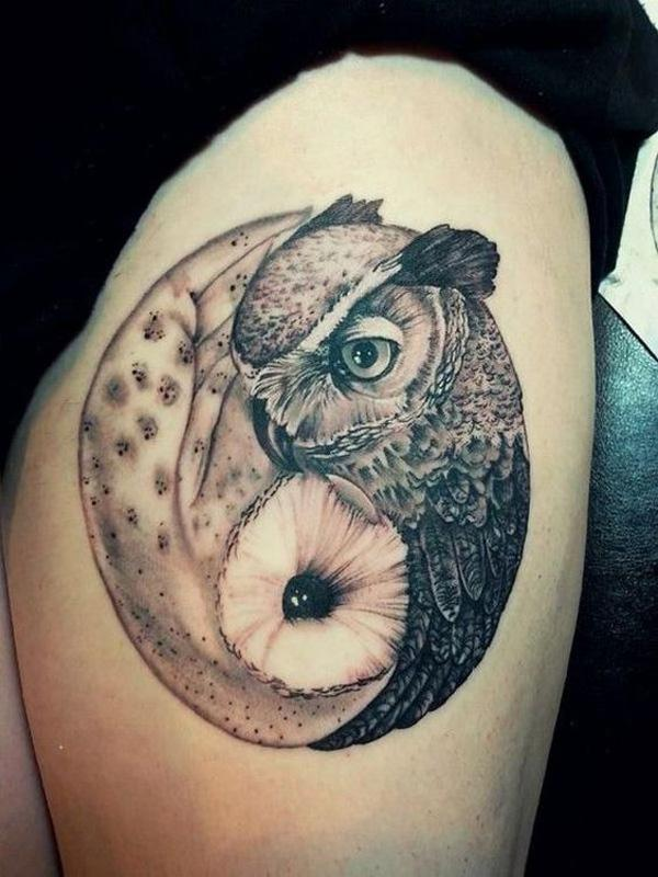 owl yin yang thingh tattoo-16