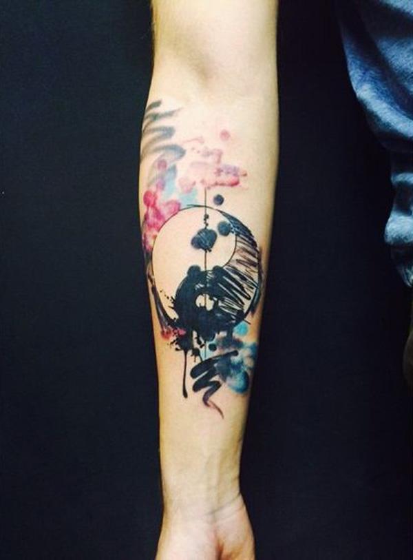 watercolor yin yang sleeve tattoo-35