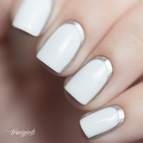 white with silver crescent moon nails-27