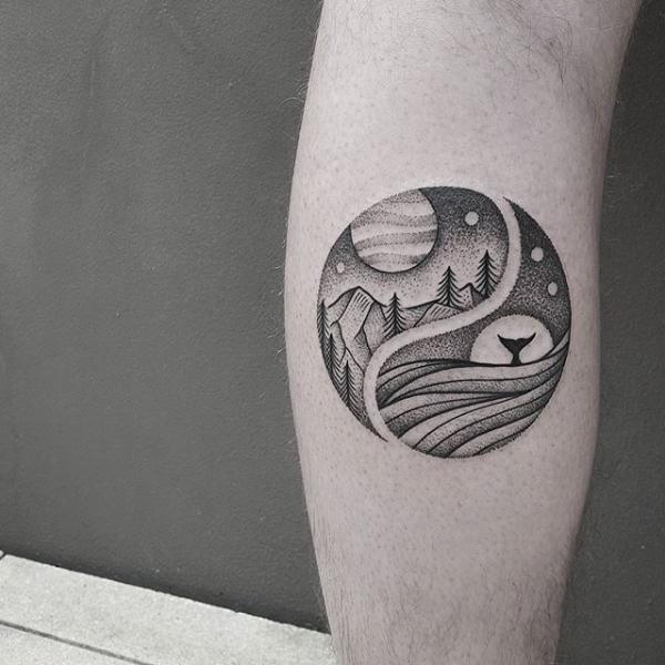 yin yang leg tattoo-8