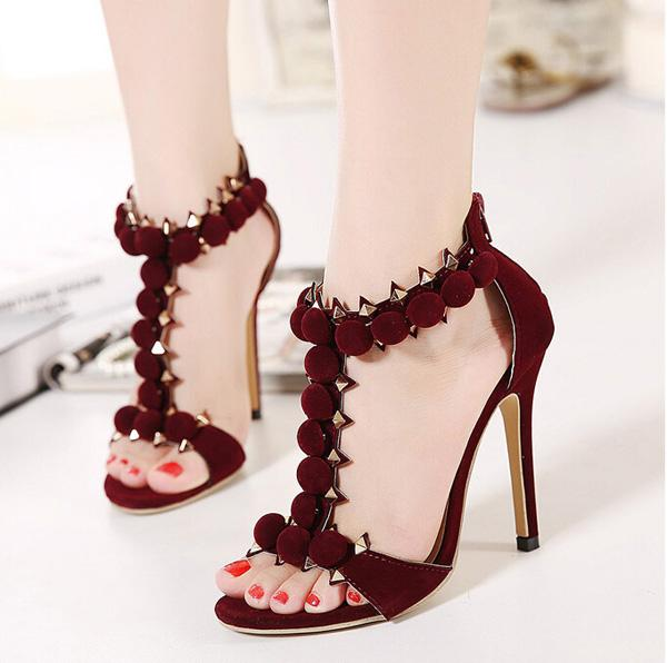 2016 New Summer Style Women's high heels Rivets Sandals Ladies Celebrity Party Wedding Pumps Platform Shoes